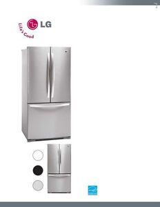 LG 33 In, 22.7 cu.ft 3 Door French Door Refrigerator w/Ice Maker