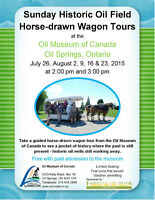 EVERY SUNDAY - GUIDED HORSE-DRAWN WAGON HISTORIC OIL FIELD TOURS