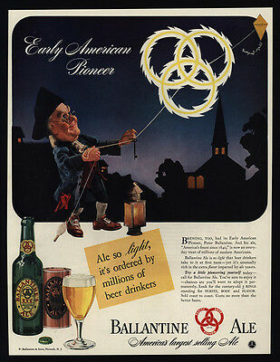 1941 BALLANTINE Ale - BEN FRANKLIN Flies Kite - Key - Electricity - VINTAGE AD