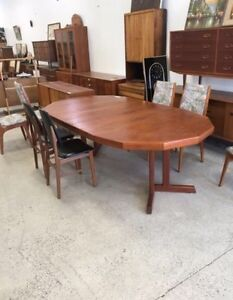 Teak MCM Dining Table with 2 Leaves