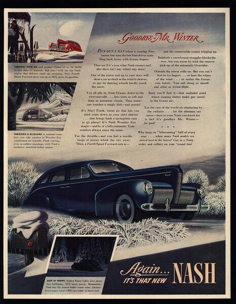 1940 NASH Blue 4 Door Sedan Car - Goodbye Mr. Winter - VINTAGE AD