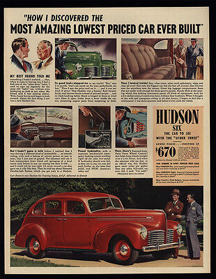 1940 HUDSON SIX Touring 4-Door Red Car - VINTAGE AD