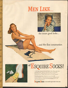 1948 full-page (10 1/2 x 14) magazine ad for Esquire Socks