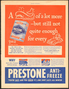 1946 full-page, original magazine ad for Prestone Anti-Freeze