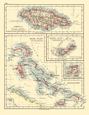 CARIBBEAN/ATLANTIC ISLANDS.Jamaica Bermuda Bahamas Trinidad. JOHNSTON 1920 map