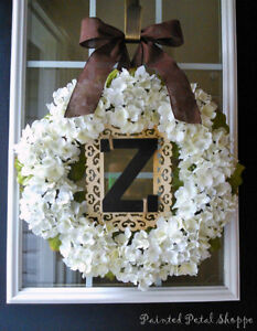 Hydrangea Monogram Frame Wreath/ Wedding/ Home Decor