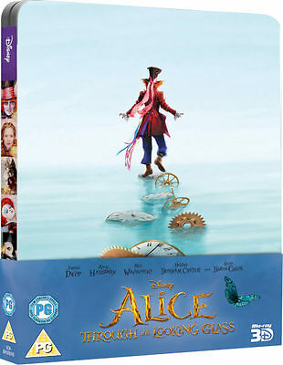Alice Through The Looking Glass 3D   2D Blu Ray Steelbook  Disney New Free Ship