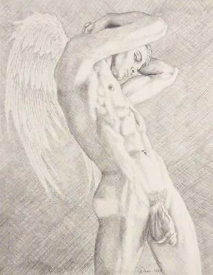"""9"""" x 12"""" drawing print nude male striving to be an angel gay art"""