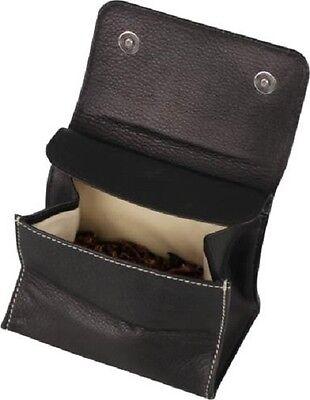 Tabakstellbeutel Leder schwarz 11 cm mit beiger Steppung NEU OVP