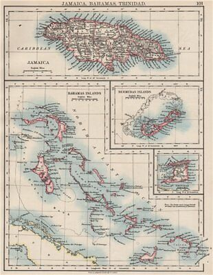 CARIBBEAN/ATLANTIC ISLANDS.Jamaica Bermuda Bahamas Trinidad. JOHNSTON 1897 map