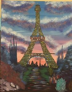 Eiffel In Paris - 16X20 Original Canvas Acrylic painting