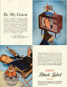 Large 1959 full page color ad for Carling with TV's Phil Silvers