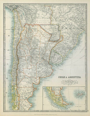 CHILE & ARGENTINA. Paraguay/Bolivia ignored 1897 border. JOHNSTON 1915 old map