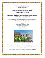 Dutch Canadian Society Spring Social & AGM