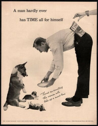 1954 TIME Weekly Newsmagazine - Cute CORGI Puppy Dogs & Owner VINTAGE AD
