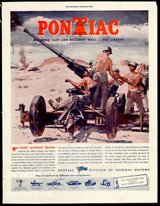 1943 full-page authentic wartime print ad for Pontiac