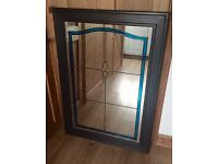 Large heavy pine stained glass mirror