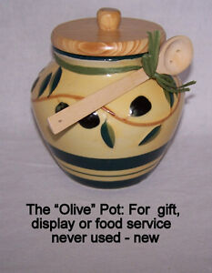 Olive Ceramic Food Service Pot, wood lid and serving spoon New