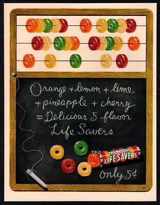 1950 LIFE SAVERS Candy - Chalk Board - Abacus - Retro - Original VINTAGE AD