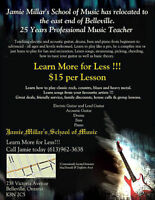 Music Lessons - $15 per 1/2 hour - Guitar, Drums, Bass, Piano