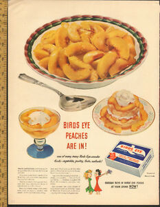 Large 1948 full-page color ad for Birds Eye Peaches