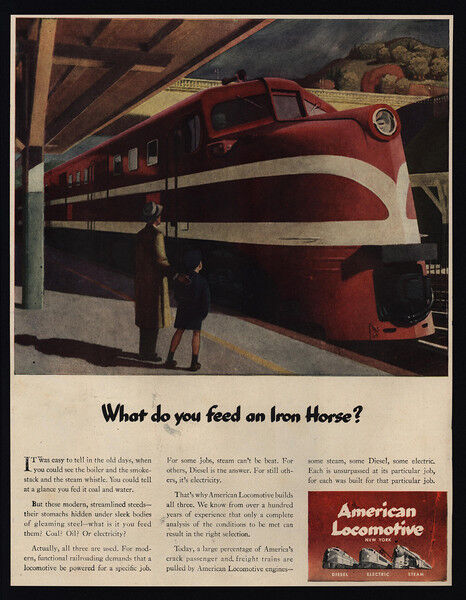 1944 AMERICAN LOCOMOTIVE - Red Train - Iron House - Diesel - VINTAGE AD