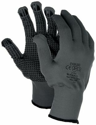 Polyco Matrix D Grip Blue Pvc Dotted Grip Palm Safety Work Gloves 4 Sizes