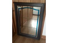 Solid pine framed stained glass mirror