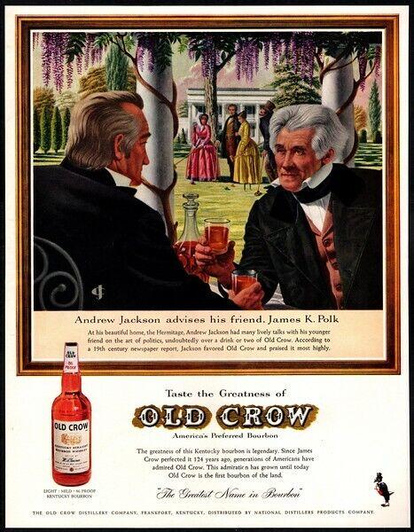 1959 OLD CROW Whiskey - ANDREW JACKSON & JAMES K. POLK VINTAGE AD