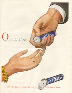 1948 full page color ad for Pep-O-Mint Life Savers