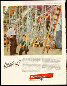 Authentic 1957 full-page telephone switch ad - Western Electric