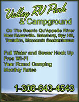 Valley RV Park & Campground in Scenic Qu'appelle Valley HWY 8