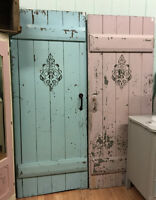NATURALLY WEATHERED DISTRESSED BARN DOORS W/ ANTIQUE HARDWARE