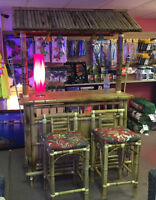 OUTDOOR TIKI BAR, 2 STOOLS AND CUSHIONS $999 LIMITED TIME