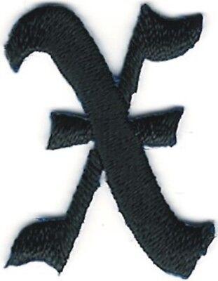 1 1/8 Kostüm Schwarz Altenglische Alphabet Buchstabe Bestickt Patch