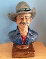 Vintage Western Cowboy bust sculpture - 1977