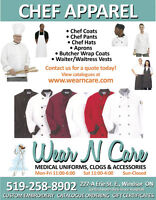 Chef Coats, Chef Pants, Chef Hats, Aprons, Waitress Vests