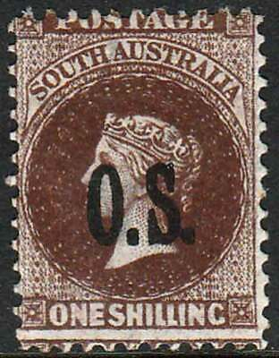 SOUTH AUSTRALIA 1874 Q Victoria 1/- Brown Optd OS ACSC11 cv$225 fine mint no gum