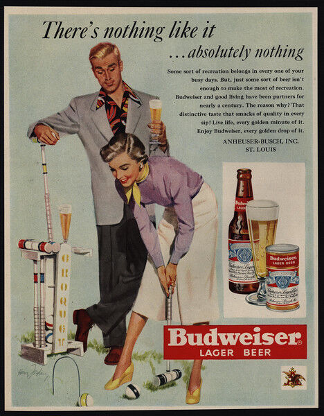 1950 BUDWEISER Beer - Man & Woman Playing Croquet - Bottle - Can - VINTAGE AD