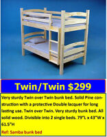 LOWEST PRICE ON BUNK BEDS. Sturdy solid wood bed: $299