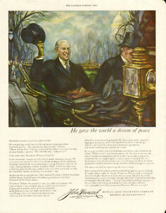 1952 large, full page color ad for John Hancock Insurance