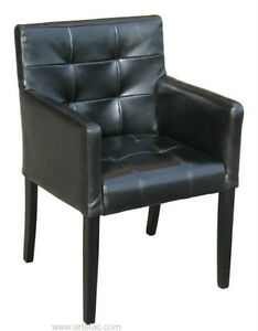 Black Tufted Leather Dining Arm Chair Special Clearance Price