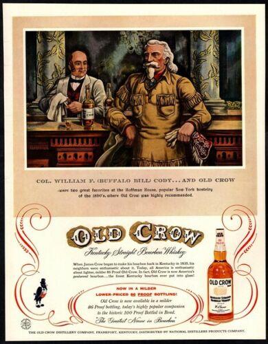 1957 OLD CROW Whiskey -COL.WILLIAM F. (BUFFFALO BILL) CODY-  VINTAGE AD