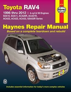 HAYNES WORKSHOP SERVICE REPAIR MANUAL TOYOTA RAV 4 1996-2012 SXA ACA GSA