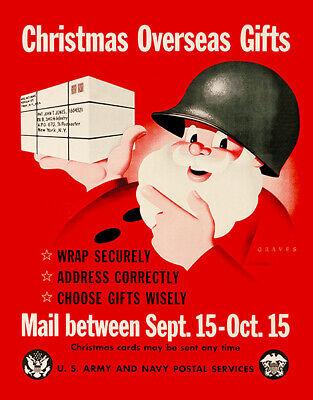 Santa - US Army Navy - Christmas Gifts - 1945 - World War II - Propaganda Poster ()