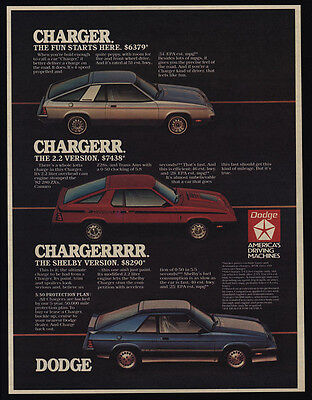 1983 DODGE CHARGER Original & 2.2 CARROLL SHELBY Version Sports Cars VINTAGE AD