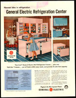 Large 1957 print ad for General Electric Refrigeration Center