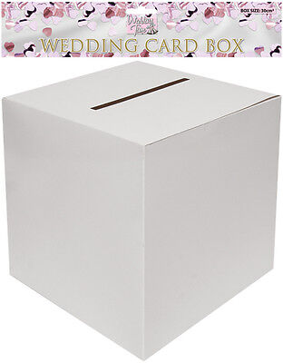 Plain White 30cm Square Wedding Card Post Box - Wishing Well Mailbox Greeting UK