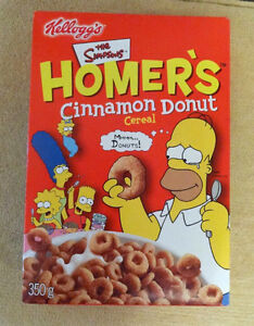 Homer Simpson Cereal, tin, root beer/cola in cans, pez,candy,etc