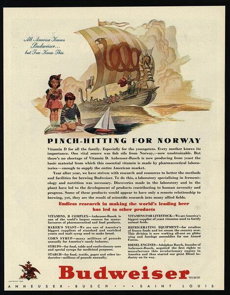 1942 BUDWEISER Beer - Viking Ship - Norway - VINTAGE AD